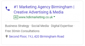 HDK Marketing - Google AdWords Advert - Marketing Agency Birmingham