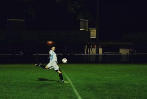 Playing football at night