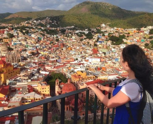 Staring out at the colourful Guanajuato city view