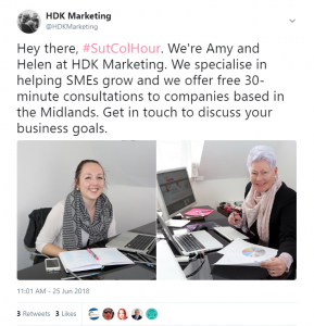 SutColHour Sutton Coldfield Twitter Chat Post