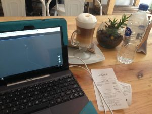 Working online in a cafe in Mexico City
